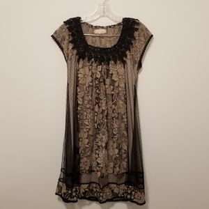 A'REVE ANTHROPOLOGIE Black Lace Dress Boho (sz S)